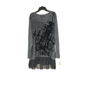 Style&Co Black And Grey Festive Shine Tunic 3X